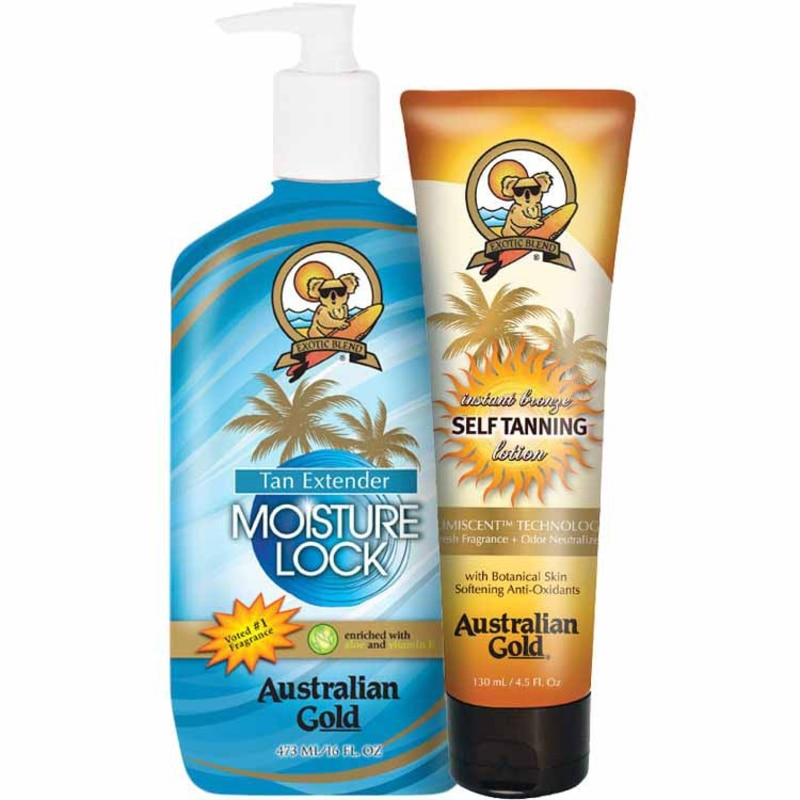 Kit Australian Gold Self-Tanning & Moisture Lock Lotion - Loção Hidratante 473ml + Autobronzeador 130ml