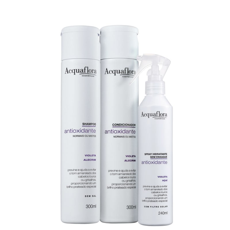 Acquaflora Antioxidante Normais ou Mistos Leave-In Kit (3 Produtos)