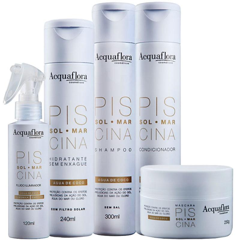 Acquaflora Sol Mar Piscina Máscara Iluminadora Hidratante Kit (5 Produtos)