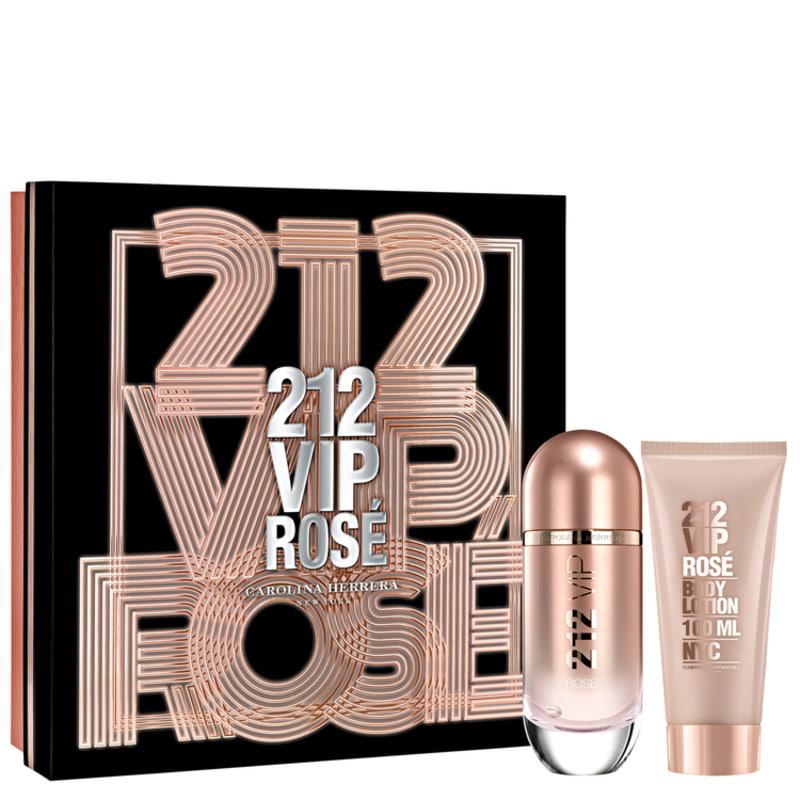 Conjunto Carolina Herrera 212 VIP Rosé Feminino - Eau de Parfum 80ml + Loção Corporal 100ml