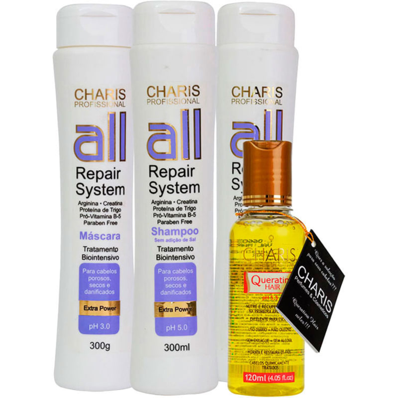 Charis All Repair System Queratina Hair Kit (4 Produtos)