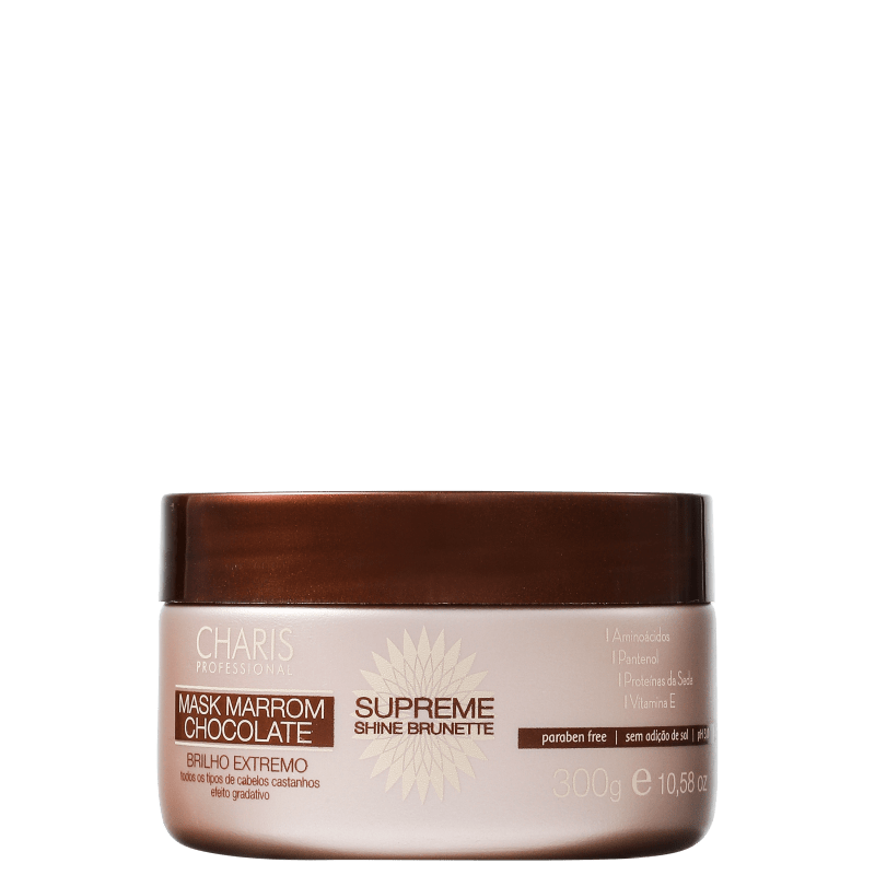 Charis Supreme Shine Brunette Mask Marrom Chocolate - Máscara de Tratamento 300g
