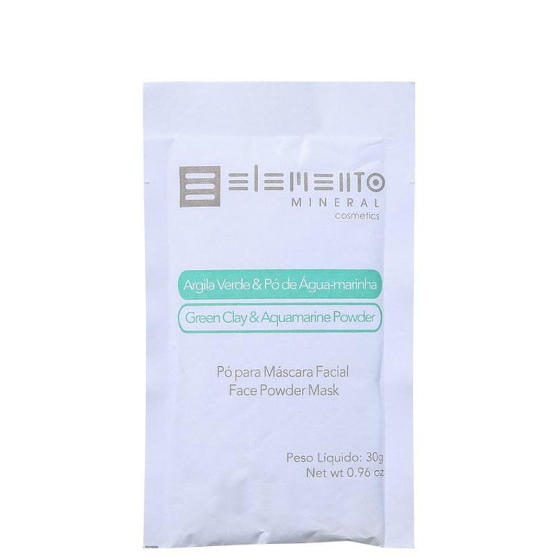Elemento Mineral Argila Verde &amp, Pó de Água-marinha - Máscara Facial 30g