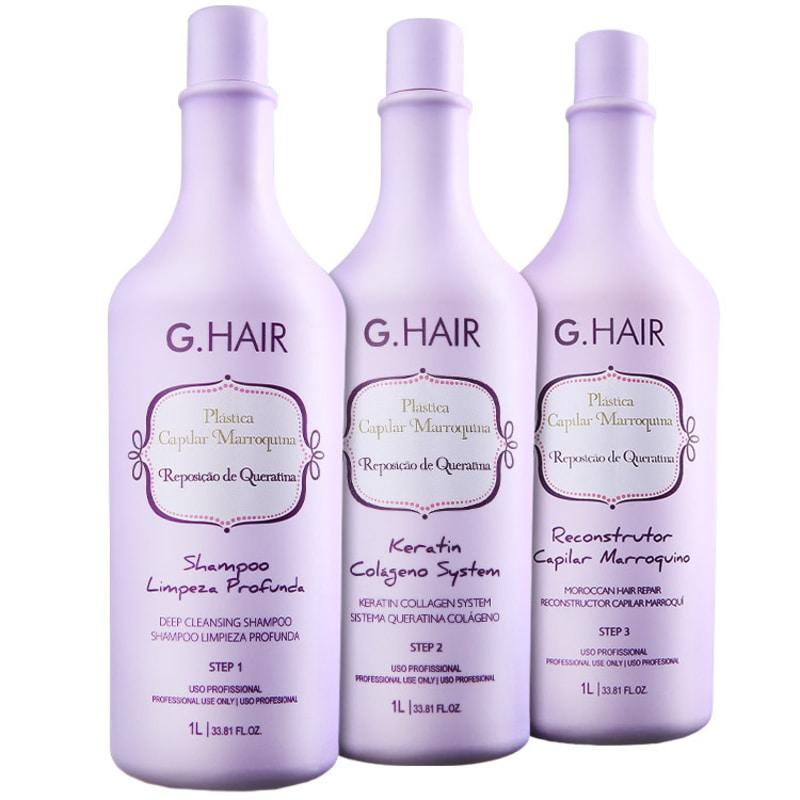 Kit G.Hair Plástica Capilar Marroquina (3 Produtos)