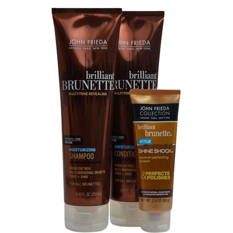 John Frieda Brilliant Brunette Moisturizing Shine Kit (3 Produtos)