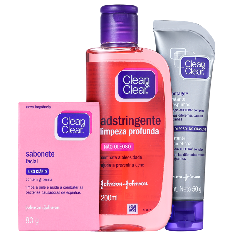 Kit Clean & Clear Cuidado Diário Antiespinhas (3 produtos)
