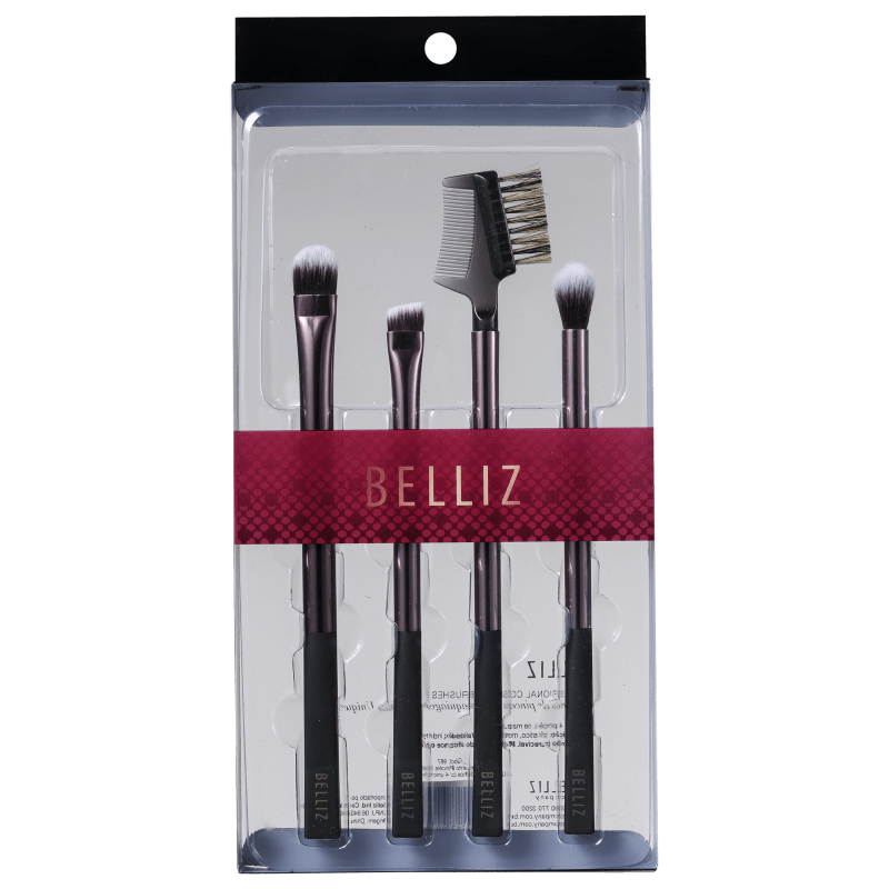 Kit de Pincéis Belliz Unique para Olhos Preto e Cobre (4 produtos)