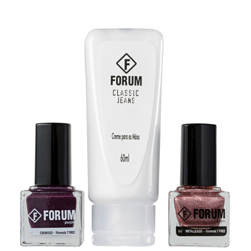 kit forum purple glam e classic jeans de esmaltes beleza na web. Black Bedroom Furniture Sets. Home Design Ideas