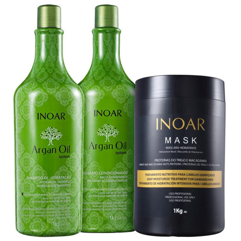 Kit Inoar Argan Oil Tratamento Profissional (3 produtos)