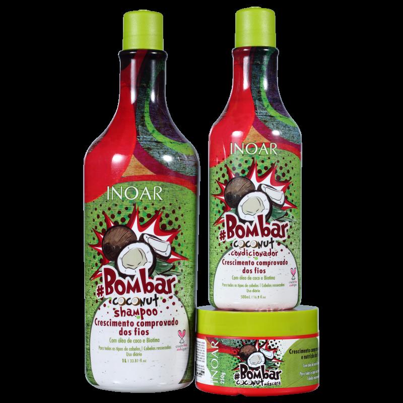 Kit #Bombar Coconut (shampoo, condicionador e máscara)