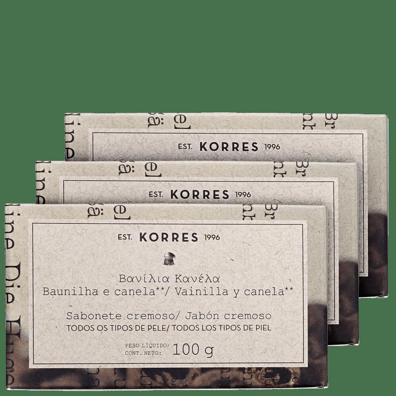 Kit Korres Baunilha e Canela - Sabonetes em Barra 3x100g