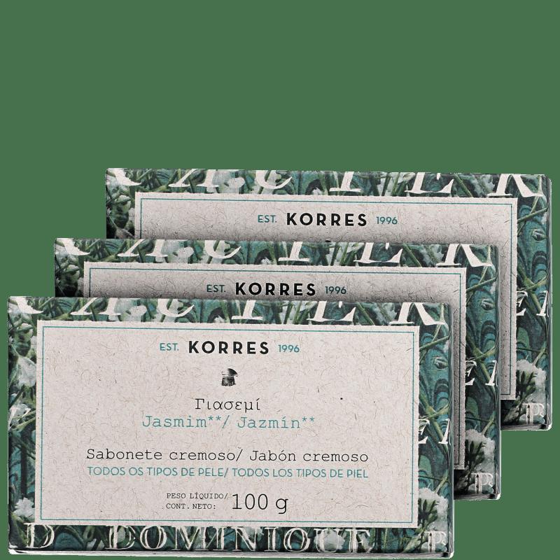 Kit Korres Jasmim - Sabonetes em Barra 3x100g