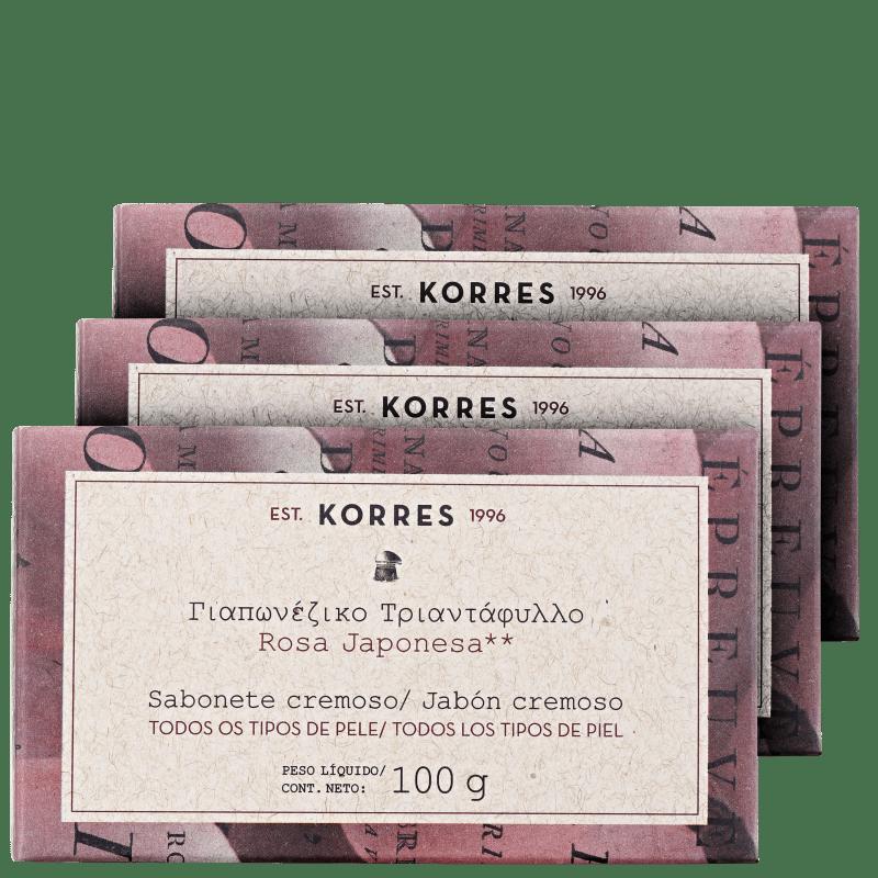 Kit Korres Rosa Japonesa - Sabonetes em Barra 3x100g