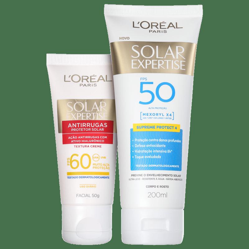 Kit L'Oréal Paris Solar Expertise FPS 50 e 60 - Protetor Solar Facial 50g + Corporal 200ml