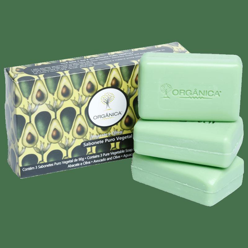 Kit Orgânica Abacate e Oliva - Sabonetes em Barra 3x90g