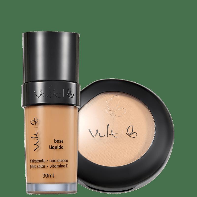 Kit Vult Make Up Base Pó 04 Bege Marrom (2 produtos)