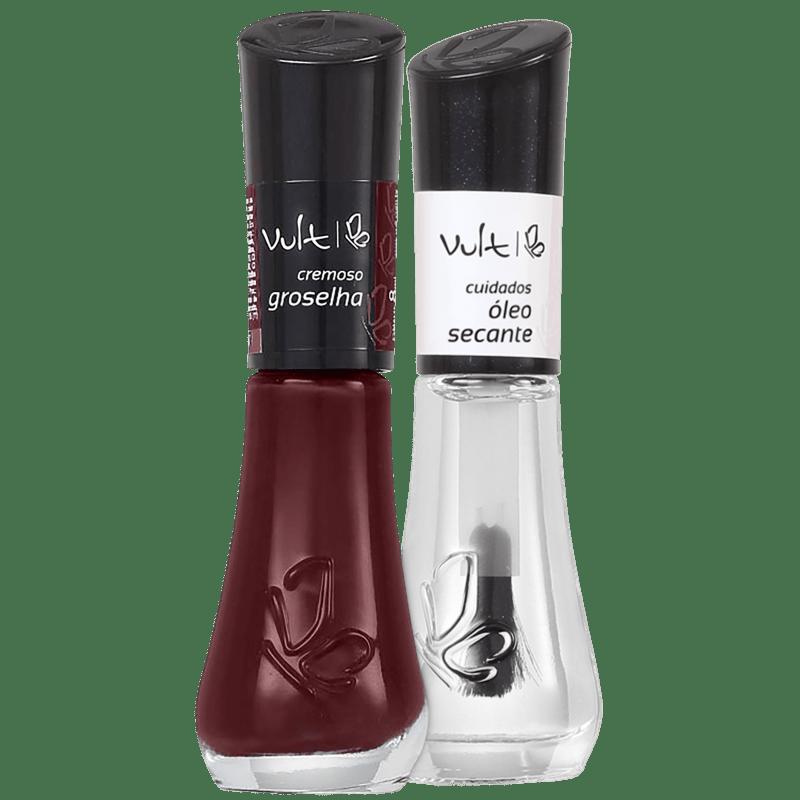 Kit Vult Unhas Groselha Secante Duo (2 produtos)