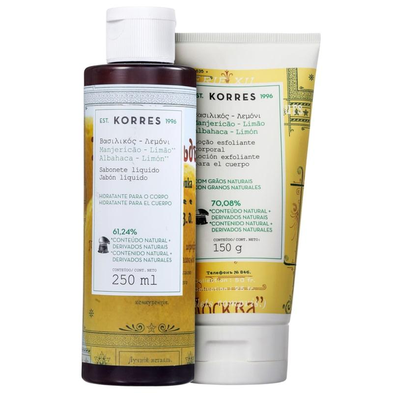 Kit Korres Manjericão-Limão Corpo e Banho (2 produtos)
