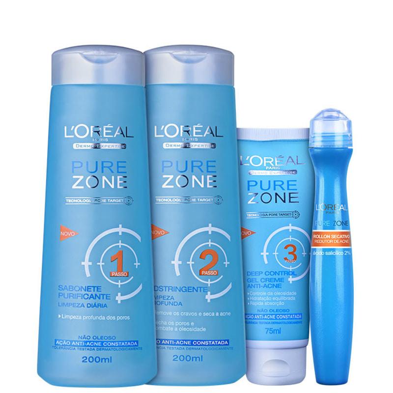 Kit L'Oréal Paris Pure Zone Dermo-Expertise Anti-Acne Full (4 produtos)