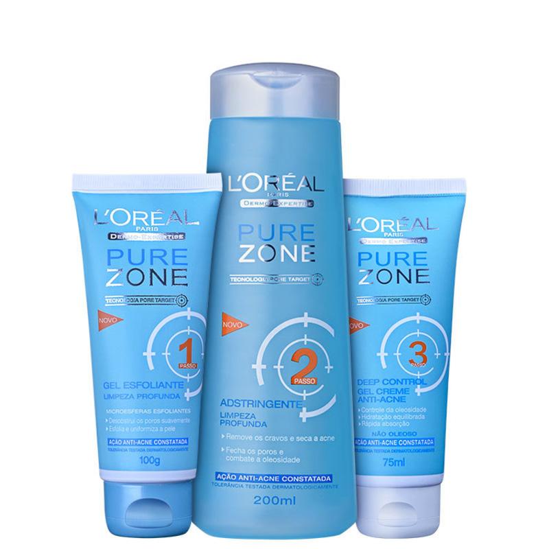 Kit L'Oréal Paris Pure Zone Dermo-Expertise Limpeza Profunda (3 produtos)