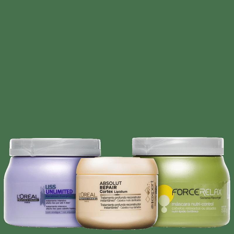 Kit L'Oréal Professionnel Cronograma Capilar Cabelos Sem Frizz (3 Produtos)
