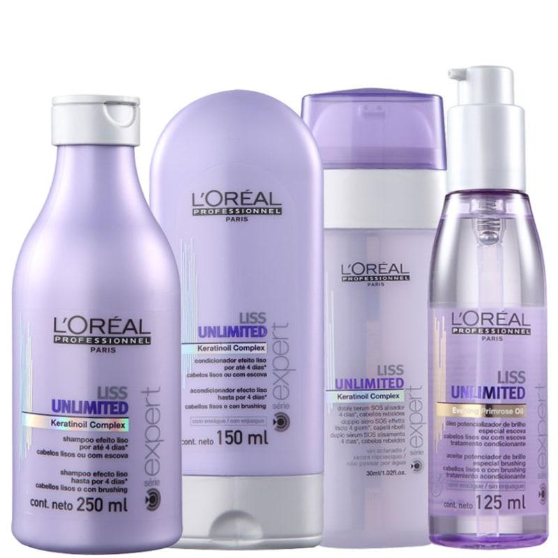 Kit L'Oréal Professionnel Expert Liss Unlimited Sos Shine (4 Produtos)