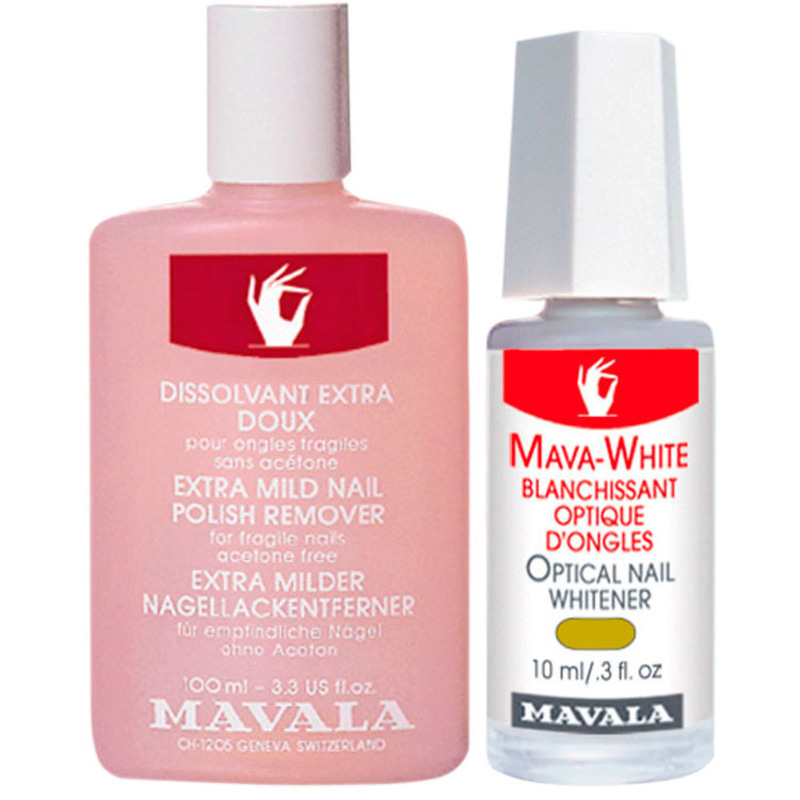 Kit Mavala Mava White & Pink Nail Polish - Clareador 10ml + Removedor 100ml