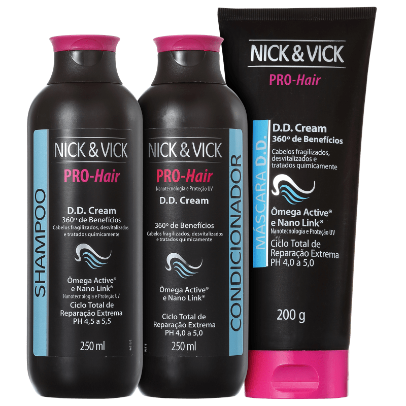 Nick & Vick PRO-Hair D.D. Cream 360º Tratamento Completo Kit (3 Produtos)