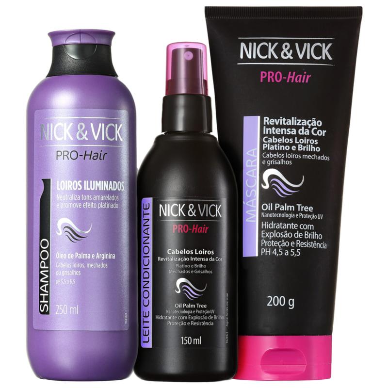 Nick & Vick PRO-Hair Revitalização Intensa Loiro Platinado Kit (3 Produtos)