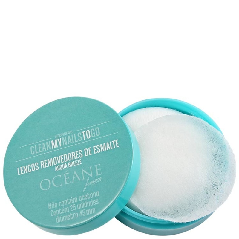 Océane Femme Clean My Nails To Go Acqua Breeze com Cartela - Lenço Removedor de Esmalte (25 unidades)
