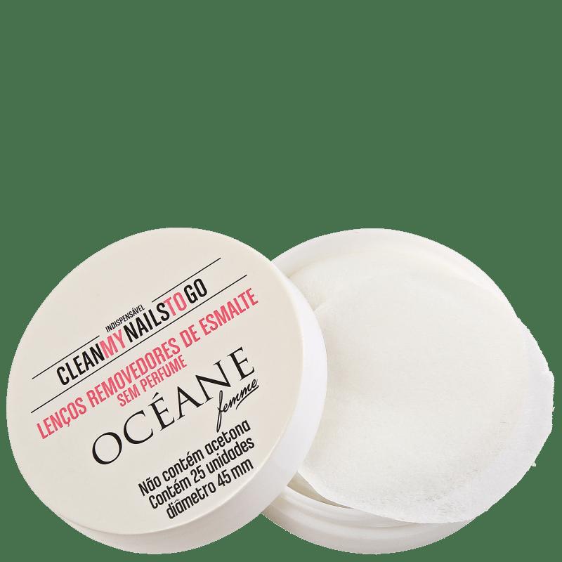 Océane Femme Clean My Nails To Go Sem Perfume com Cartela - Lenço Removedor de Esmalte (25 unidades)