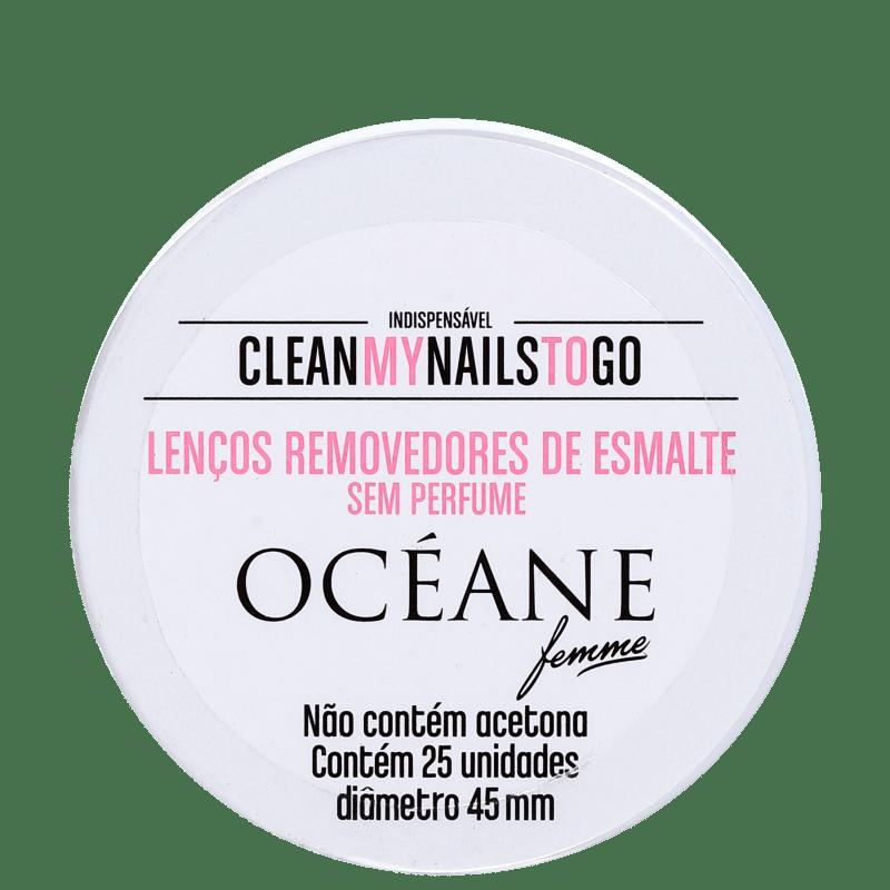 Océane Femme Clean My Nails To Go Sem Perfume - Lenço Removedor de Esmalte (25 unidades)