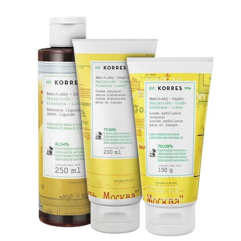 Kit Korres Manjericão-Limão Triplo (3 produtos)