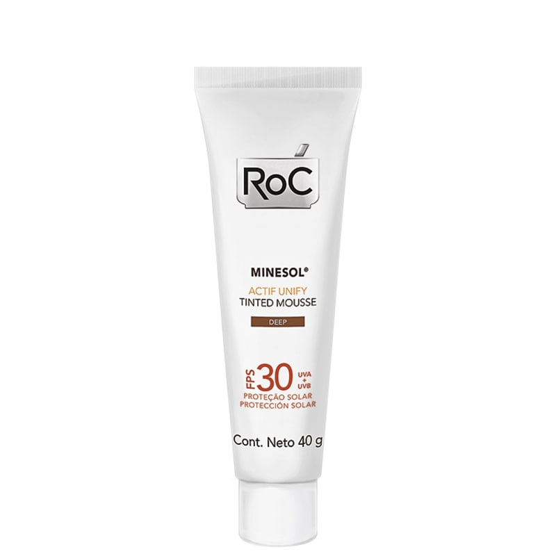 RoC Minesol Actif Unify Tinted Mousse Deep FPS 30 - Protetor Solar Facial 40g