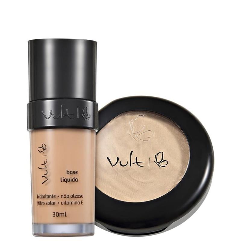 Kit Vult Make Up Base Pó 02 Bege Rosa (2 produtos)