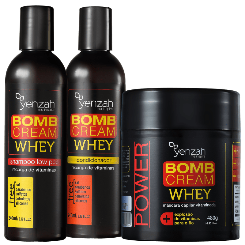 Kit Yenzah Power Whey Bomb Cream Triplo (3 Produtos)
