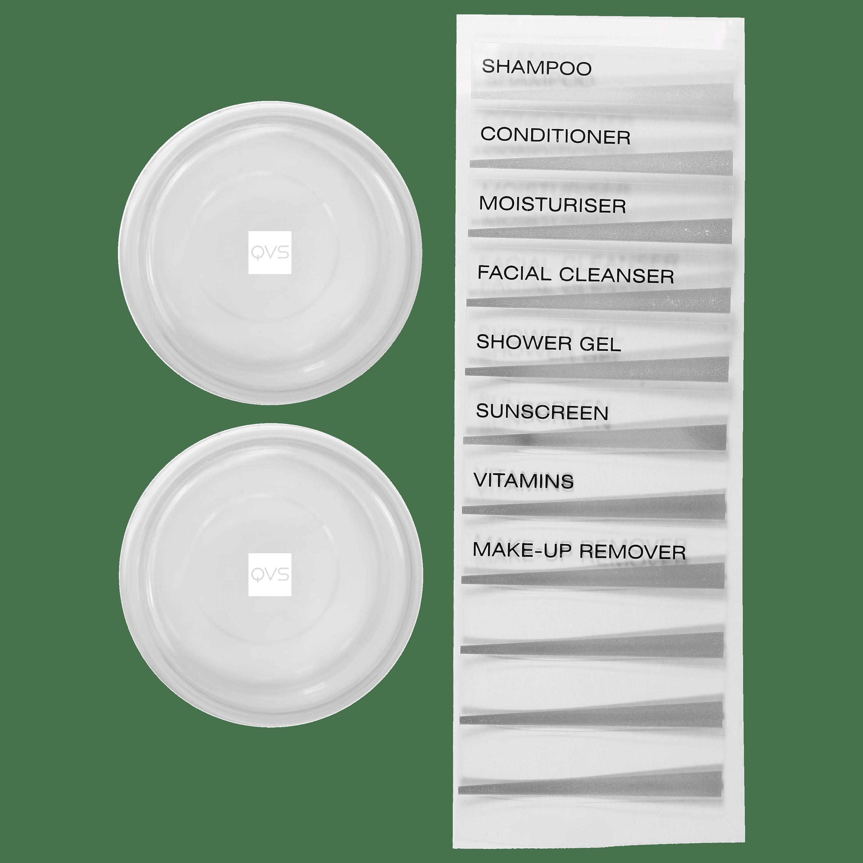 Brinde QVS Kit Frascos Para Viagem 15g e Etiquetas