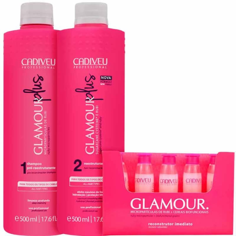 Kit Cadiveu Professional Glamour Rubi Plus Escova (3 Produtos)