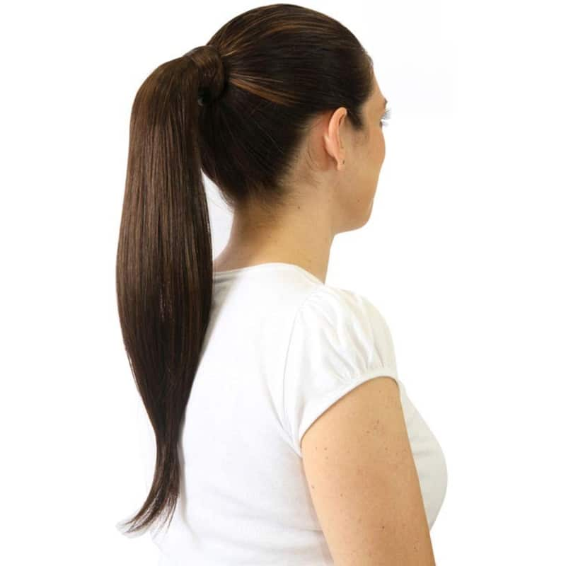 Hairdo Chocolate Com Mechas Cobre - Aplique Rabo de Cavalo Liso 46cm