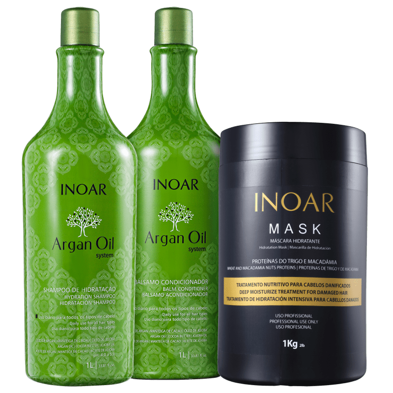 Kit Inoar Argan Oil System Tratamento Profissional (3 Produtos)