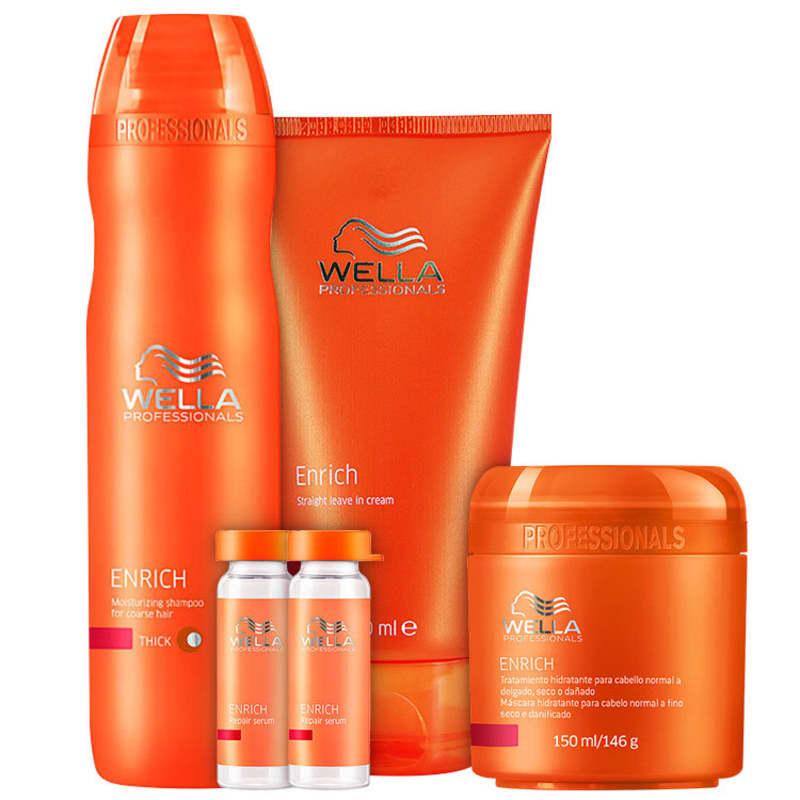 Kit Wella Professionals Enrich Escova Hidratação Poderosa Cabelos Finos (4 Produtos)