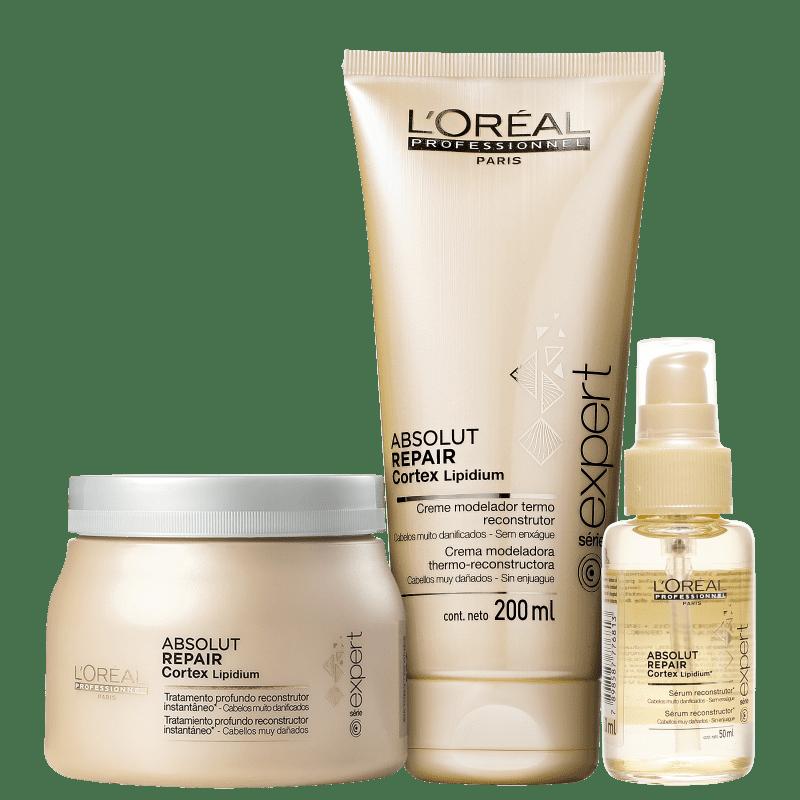 Kit L'Oréal Professionnel Expert Absolut Repair Cortex Escova Reconstrução (3 Produtos)