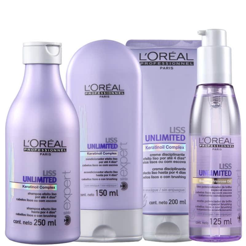 Kit L'Oréal Professionnel Expert Liss Unlimited Discipline Shine (4 Produtos)