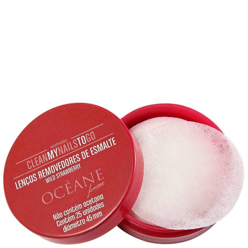 Océane Femme Clean My Nails To Go Wild Strawberry com Cartela - Lenço Removedor de Esmalte (25 unidades)