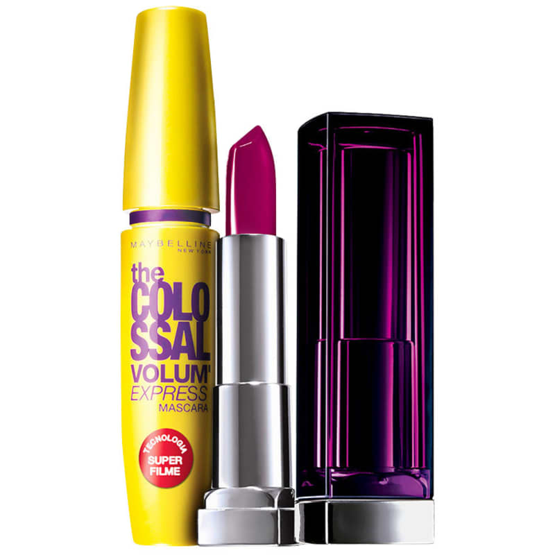Kit Maybelline The Colossal Lips and Eyes Roxo Provocante (2 produtos)