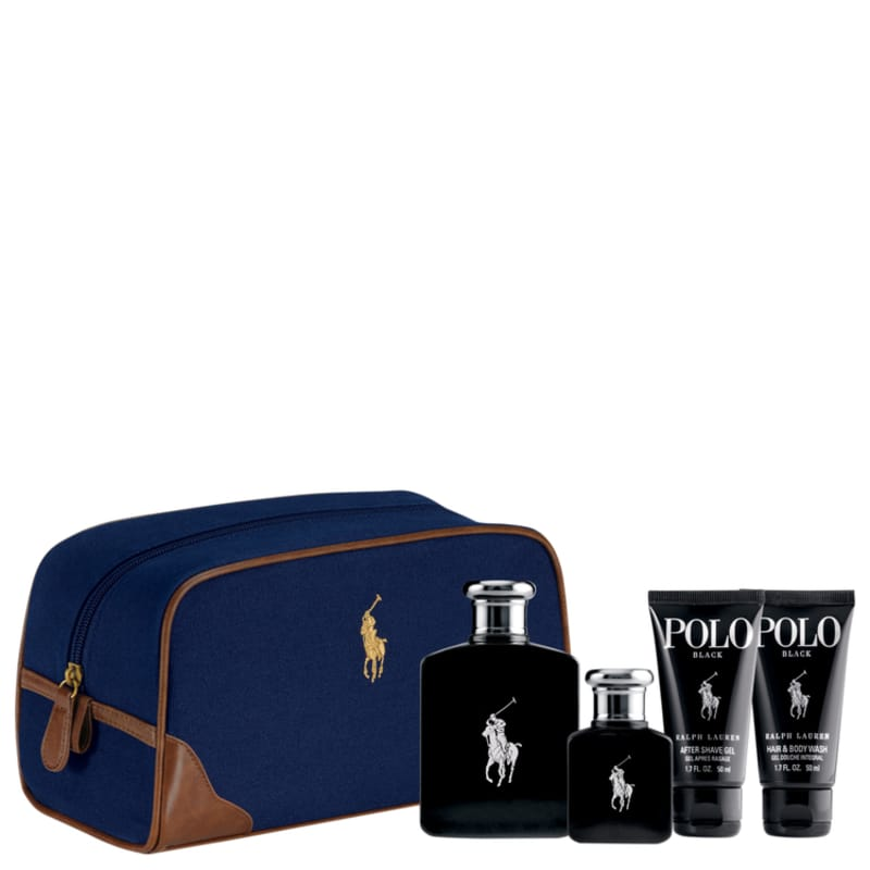 Conjunto Polo Black Ralph Lauren Masculino - Eau de Toilette 125ml + Eau de Toilette 40ml + Gel de Banho 50ml + Pós-Barba 50ml