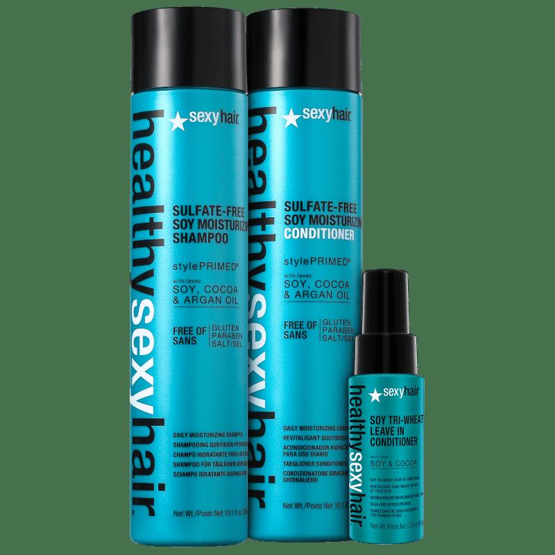 Kit Sexy Hair Healthy Soy Moisturizing Triplo (3 Produtos)