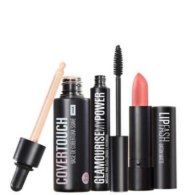 Cover Touch 1 Glamourise Lip Fash Gorgeous Nut Kit (3 Produtos)