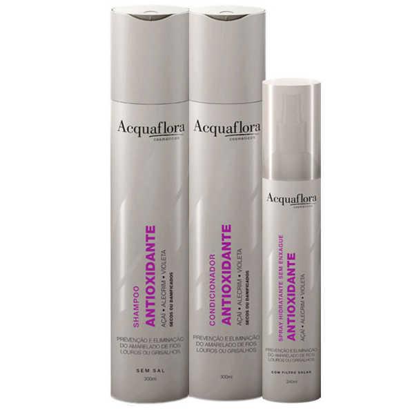 Acquaflora Antioxidante Secos ou Danificados Leave-In Kit (3 Produtos)