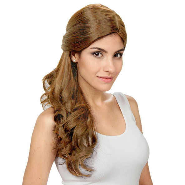 Crown Wigs Estela Cor Castanho Claro/ Louro Médio - Peruca 56cm